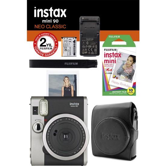 Instax Neo 90 Classic Siyah Fotoğraf Makinesi ve Hediye Seti