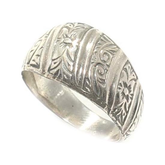 Nusret Takı 925 Ayar Gümüş Kalem işlemeli Yüzük