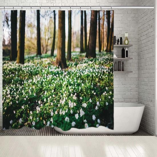 Henge İlkbahar ÇiçeklerRomantik Doğa Manzaralı Duş Perdesi