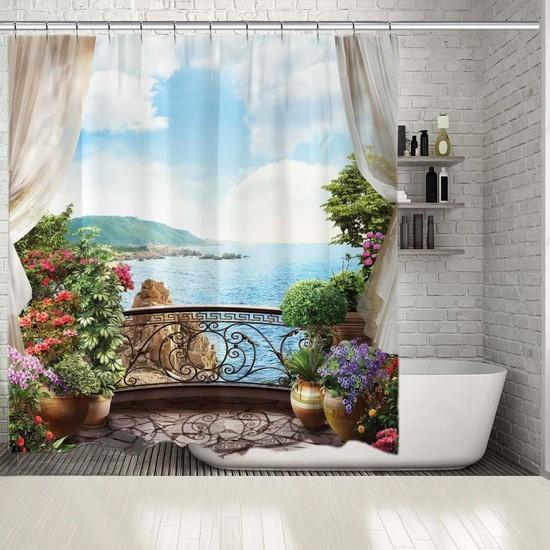 Henge Mavi Deniz Manzaralı Çiçekli Balkon Duş Perdesi