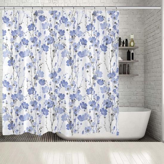 Henge Beyaz Mavi Çiçek Deseni Duşperdesi