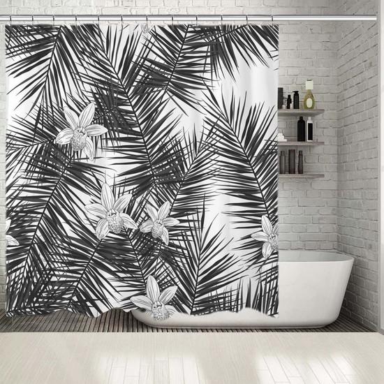 Henge Sulu Boya Etkili Orkide Palmiye Desenli Duşperdesi