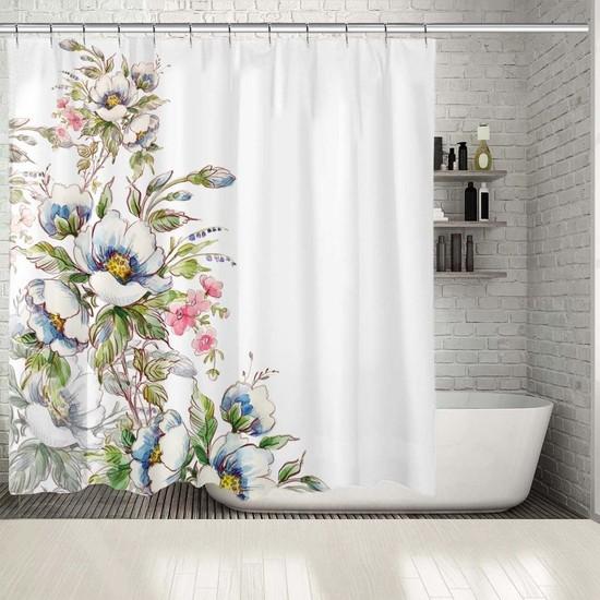 Henge Sulu Boya Etkili Buket Çiçek Desenli Duşperdesi
