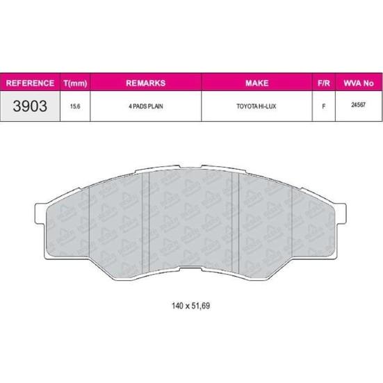 Ferbe Fren Balatası Ön Toyota Hılux III Pickup 2.5D 06