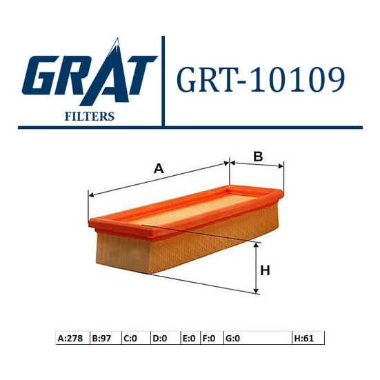 Grat Hava Filtresi Süngerli Fiat Doblo 1.4 16V 2005 2009 İdea 1.4 2004 2010 Grt 10109