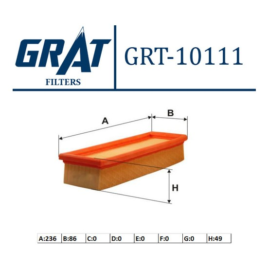 Grat Hava Filtresi Fiat Uno 70 Grt 10111