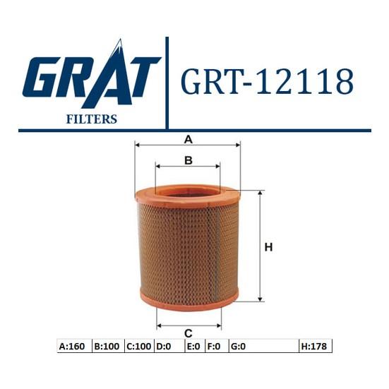 Grat Hava Filtresi Kısa Peugeot BoxerCitroen Jumper 2.5D 94 02 Grt 12118