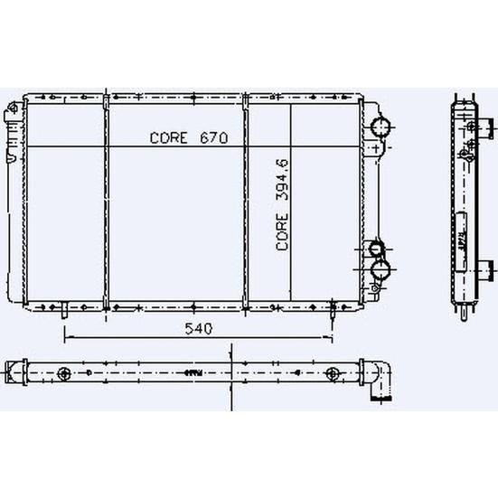 Kale Motor Radyatör Trafıc 2 4D 2 Sıra Cu Pl Sistem 670X395X36 7701412005 4401893 7700741216