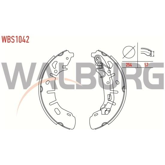 Walburg Fren Pabuç Balata Arka Fiat Doblo 152 263 1.6 Mjt Yapıstırma Levyeli 254X57 Mm 2010