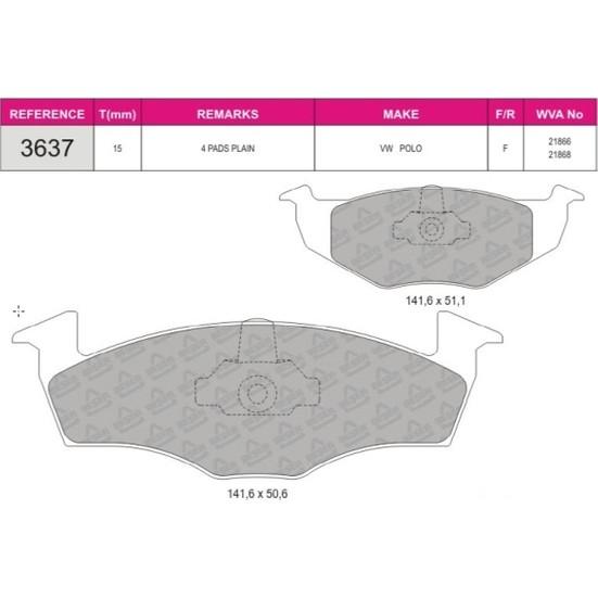 Beser Ön Fren Balatası Polo Classic 1 9 15Mm 1H0615105E 1H0698151B 1H0698151B