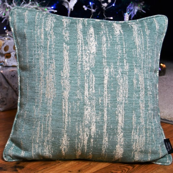 Mcalister Textiles Texture Chenille Yastık Kılıfı | Mavi Geometrik Desenli Dokuma Kumaş Dekoratif Kare Kırlent 43 x 43 cm