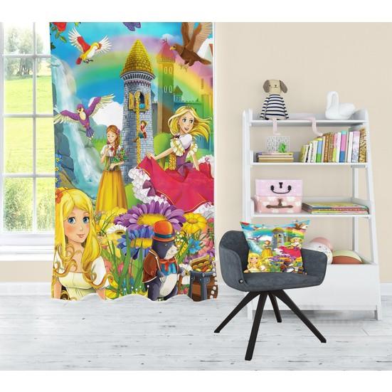 Bebişim Halı Prensesli Çocuk Odası Fon Perde