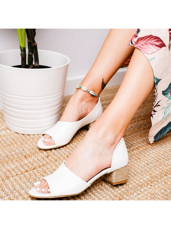 Limoya Kacie Beyaz Alçak Hasır Topuklu Sandalet