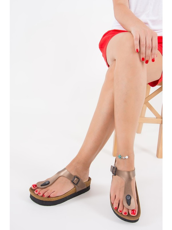 Fox Shoes Bronz Kadın Terlik B777731009