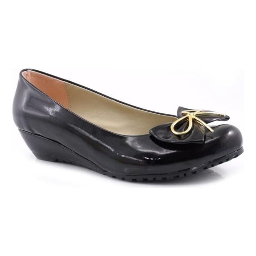 Sisetta Rugan Siyah Dolgu Topuk Babet Kadın Ayakkabı