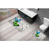 Cici 3D 2'Li Klozet Takımı Kelebeklerin Dansı 60X100 Cm
