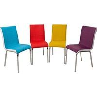 Evistro Deri Mutfak Sandalyesi 4 Adet Renkli