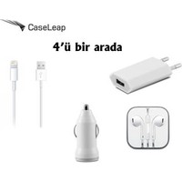 Case Leap Apple iPhone 6/6P/6S/6PS 3in1 Ev ve Araç Şarjı Data Kablosu + Kulaklık (iOS 10.1.1 Destekli)