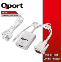 Qport Q-Vh VGA(M) To HDMI(F) Çevirici