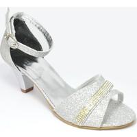 Sarıkaya Abiye Gümüş Kız Çocuk Topuklu Ayakkabı