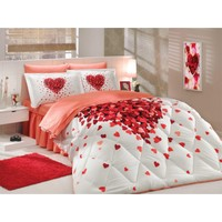 Hobby Poplin Çift Kişilik Uyku Seti Juana Kırmızı