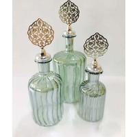 Dreamhome Yeşil Silindir Üfleme Cam Şişe Gümüş