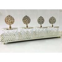 Dreamhome Tepsili Dörtlü Baklava Kesme Çerezlik Set Gümüş