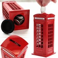 London Ingiliz Metal Telefon Kulübesi Şeklinde Kumbara / Metal Red British English London Telephone Booth Shape Coin Piggy Bank