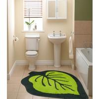 Mecra Halı Yaprak Banyo Paspası Yeşil 100X100 Cm