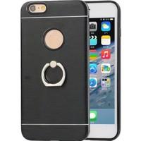 Akıllıphone Apple iPhone 6-6S Selfie Yüzüklü Arkası Metal Silikon Kılıf