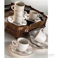 Kütahya Porselen Milena Krem 12 Parça 6 Kişilik Kahve Fincan Takımı