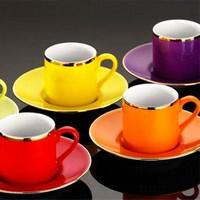 Kütahya Porselen Rüya 12 Parça 6 Kişilik Renkli Kahve Fincan Takımı