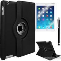 Kea Apple iPad Air 2 (iPad 6) 360° Dönebilen Standlı Siyah Kılıf + Ekran Koruyucu Film + Tablet Kalemi