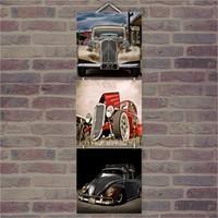 Cakasepetim Ahşap Tablo Kılasik Otomobil Resimleri Baskılı 14X14 Cm 3 Parça