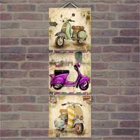 Cakasepetim Ahşap Tablo Üçlü Nostalji Motorsikletler Baskılı 14X14 Cm 3 Parça