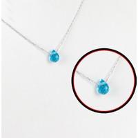 A'Favor 925 Ayar Gümüş Doğal Taş Deniz Mavisi Bayan Kolye