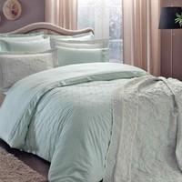 Taç 3839 Lovely Home Sunshine Yatak Örtülü Çift Kişilik Nevresim Takımı V52-Mint 60141722