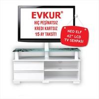 Harmann Neo Elf 42 İnc Beyaz Çiçekli Televizyon Sehpası 20330710