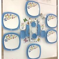 Keramika 24 Parça Mavi Kelebek Desenli Kahvaltı Takımı