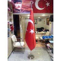Ekin Bayrak Makam Türk Bayrağı (Gümüş Simli) + Krom Makam Direği (Takım)
