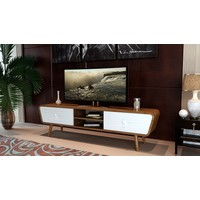 Sanal Mobilya Venedik Çekmeceli Bölmeli Tv Sehpası Gövde Ceviz/Çekmece Beyaz