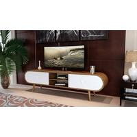 Sanal Mobilya Zigana Oval Çekmeceli Tv Bölmeli Tv Ünitesi Gövde Ceviz/Çekmece Beyaz