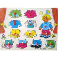 Kartoy Ahşap Oyuncak Tutmalı Puzzle Elbise Giydirme