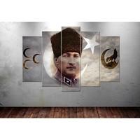 Caddeko Ata226 Atatürk Bozkurt 3 Hilal Kanvas Tablo 70 x 100 cm