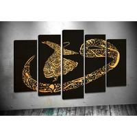 Caddeko Pl68 Siyah Sarı Vav Semazen Kanvas Tablo 70 x 100 cm