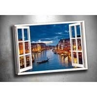 Caddeko Pnc5 Pencereden Venedik Gece Kanvas Tablo 70 x 100 cm