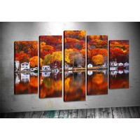 Caddeko Rpt63 Kızıl Orman Ve Göl Kanvas Tablo 70 x 100 cm