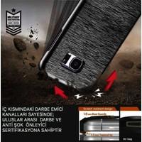 Kkd Samsung GalaxyS6 Edge Kılıf Silikon Metalik 360 Tam Koruma +Kırılmaz Cam