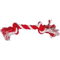 Çift Toplu İp Sargı Köpek Oyuncağı (Kırmızı/Beyaz) 30 Cm