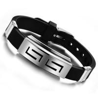 Myfavori Siyah Silikon Paslanmaz Çelik Bileklik Gümüş Renk